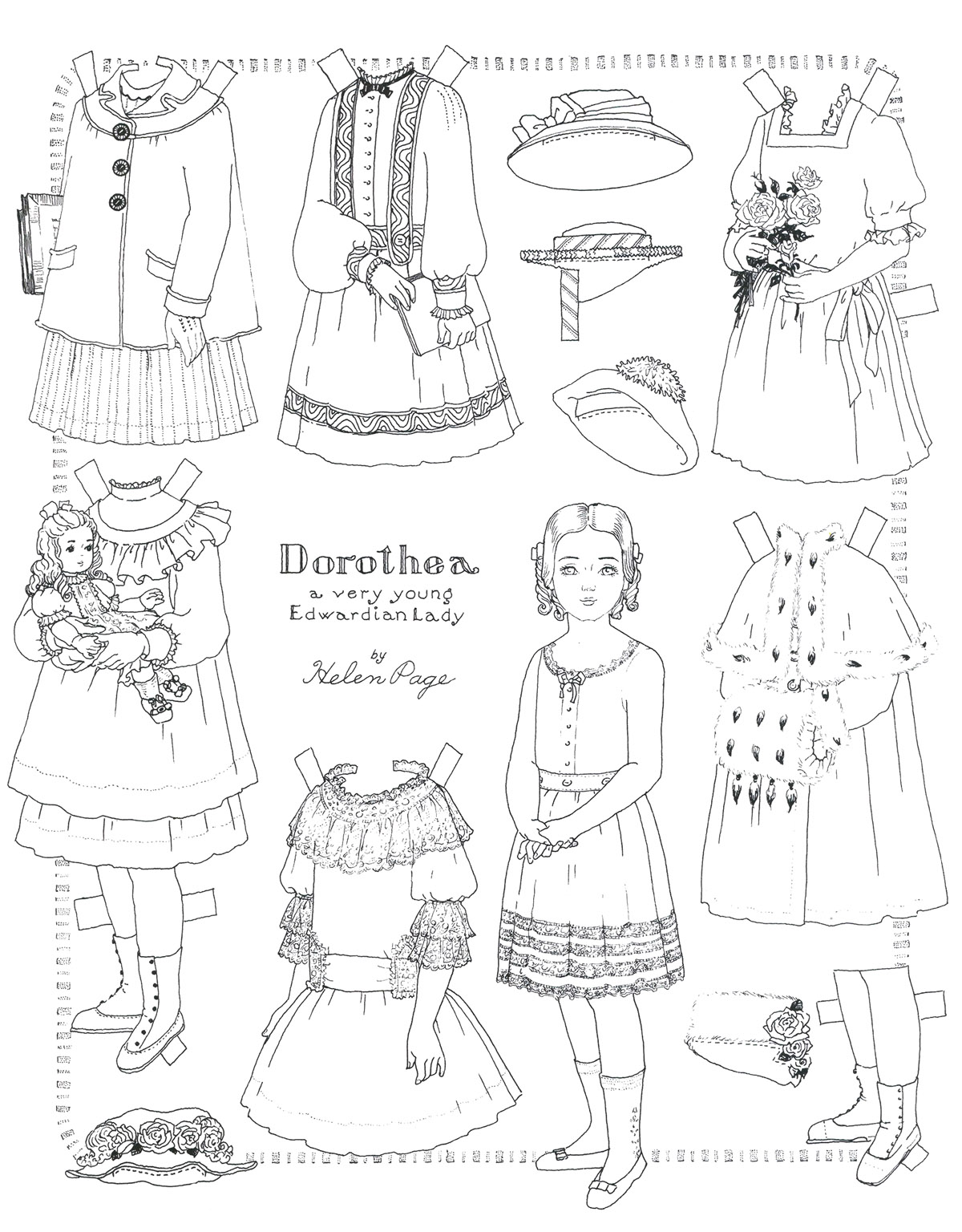 Helen page paper dolls to color for Paper doll coloring page